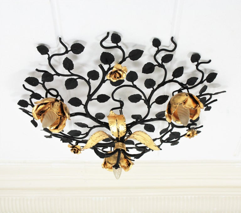 Palatial Black and Gilt Wrought Iron Large Floral Light Fixture / Flush Mount For Sale 1