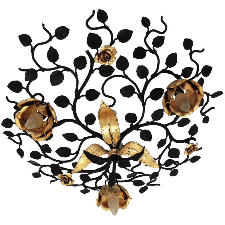 Palatial Black and Gilt Wrought Iron Large Floral Light Fixture / Flush Mount For Sale