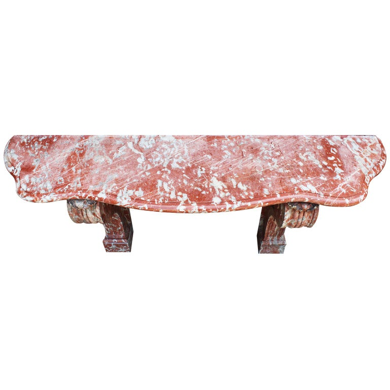 Palatial French 19th Century Louis XV Style Carved Rouge Royal Marble Console For Sale 2