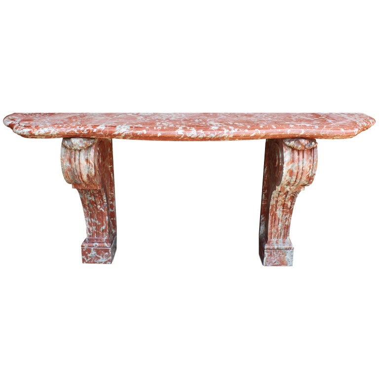 Palatial French 19th Century Louis XV Style Carved Rouge Royal Marble Console For Sale