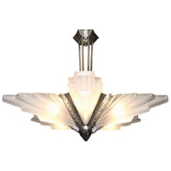 Palatial French Art Deco Frosted Art Glass Sunburst Chandelier by Sabino