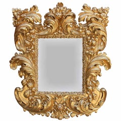 Palatial Italian 19th Century Baroque Style Giltwood Carved Florentine Mirror