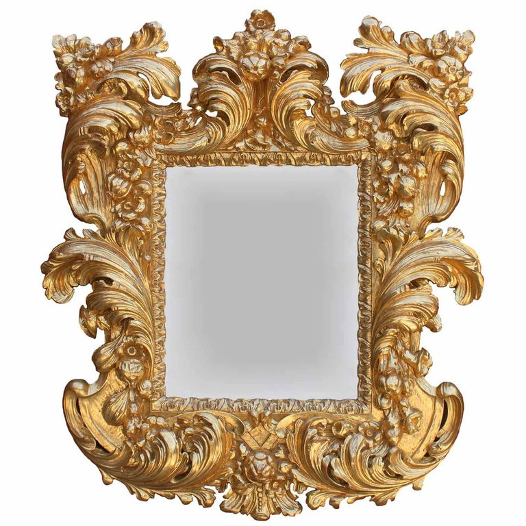 Palatial Italian 19th Century Baroque Style Giltwood Carved Florentine Mirror For Sale