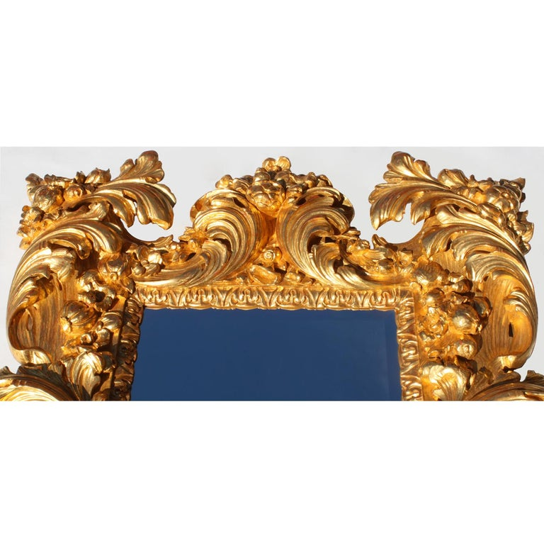 Baroque Revival Palatial Italian 19th Century Baroque Style Giltwood Carved Florentine Mirror For Sale