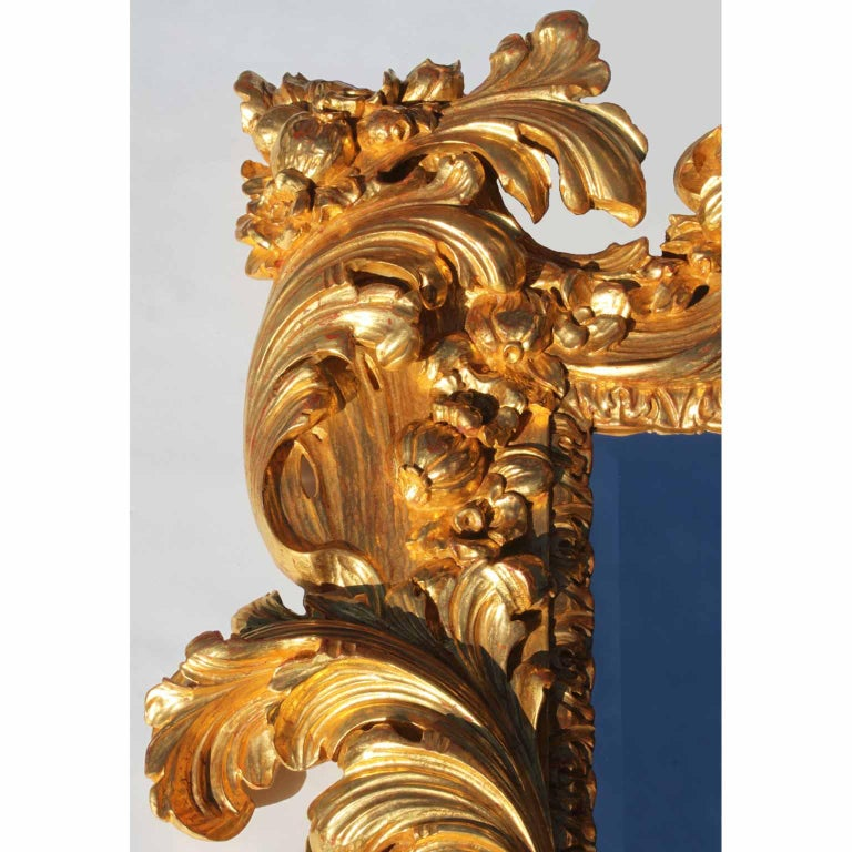 Hand-Carved Palatial Italian 19th Century Baroque Style Giltwood Carved Florentine Mirror For Sale