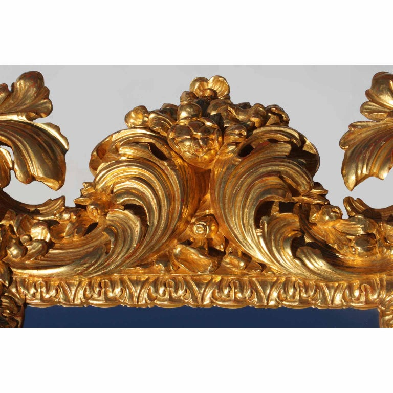 Palatial Italian 19th Century Baroque Style Giltwood Carved Florentine Mirror In Good Condition For Sale In Los Angeles, CA