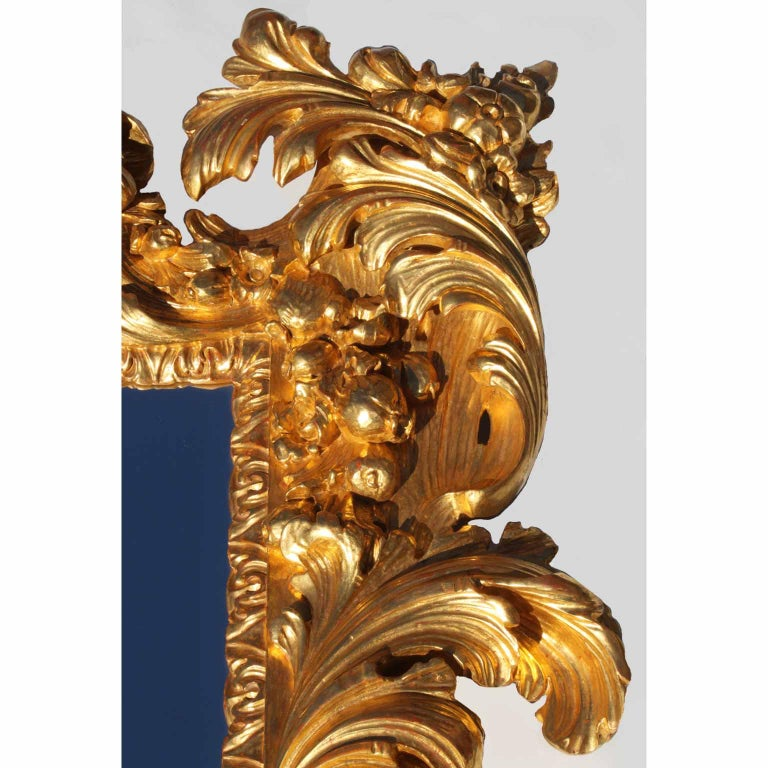 Wood Palatial Italian 19th Century Baroque Style Giltwood Carved Florentine Mirror For Sale