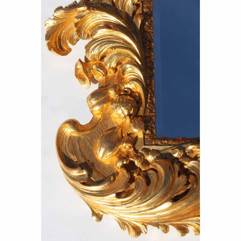 Palatial Italian 19th Century Baroque Style Giltwood Carved Florentine Mirror For Sale 1