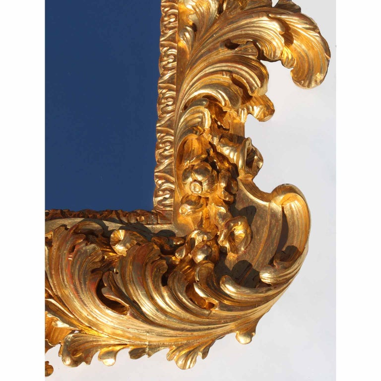 Palatial Italian 19th Century Baroque Style Giltwood Carved Florentine Mirror For Sale 3