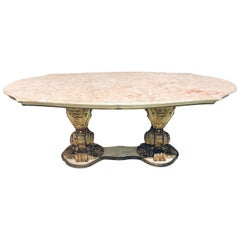 Palatial Italian Carved and Painted Base Marble Top Center or Dining Table
