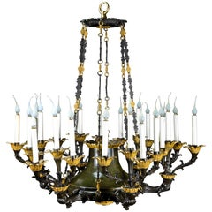 Palatial Large French Empire Gilt and Patina Bronze Multi Light Chandelier