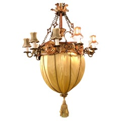 Palatial Light Fixture in Copper, Brass and Iron with Silk Dome Shade
