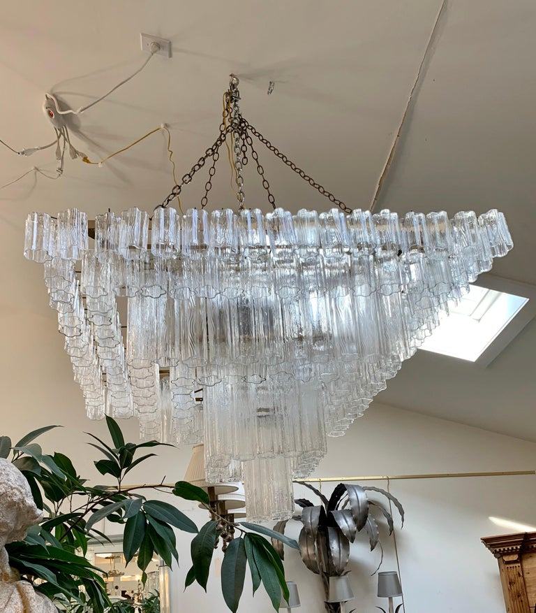 Palatial Mid-Century Modern Murano Camer Tubular Glass Square Chandelier XL For Sale 2