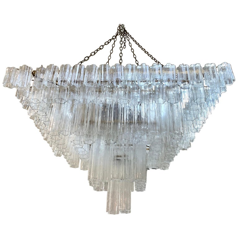 Palatial Mid-Century Modern Murano Camer Tubular Glass Square Chandelier XL For Sale