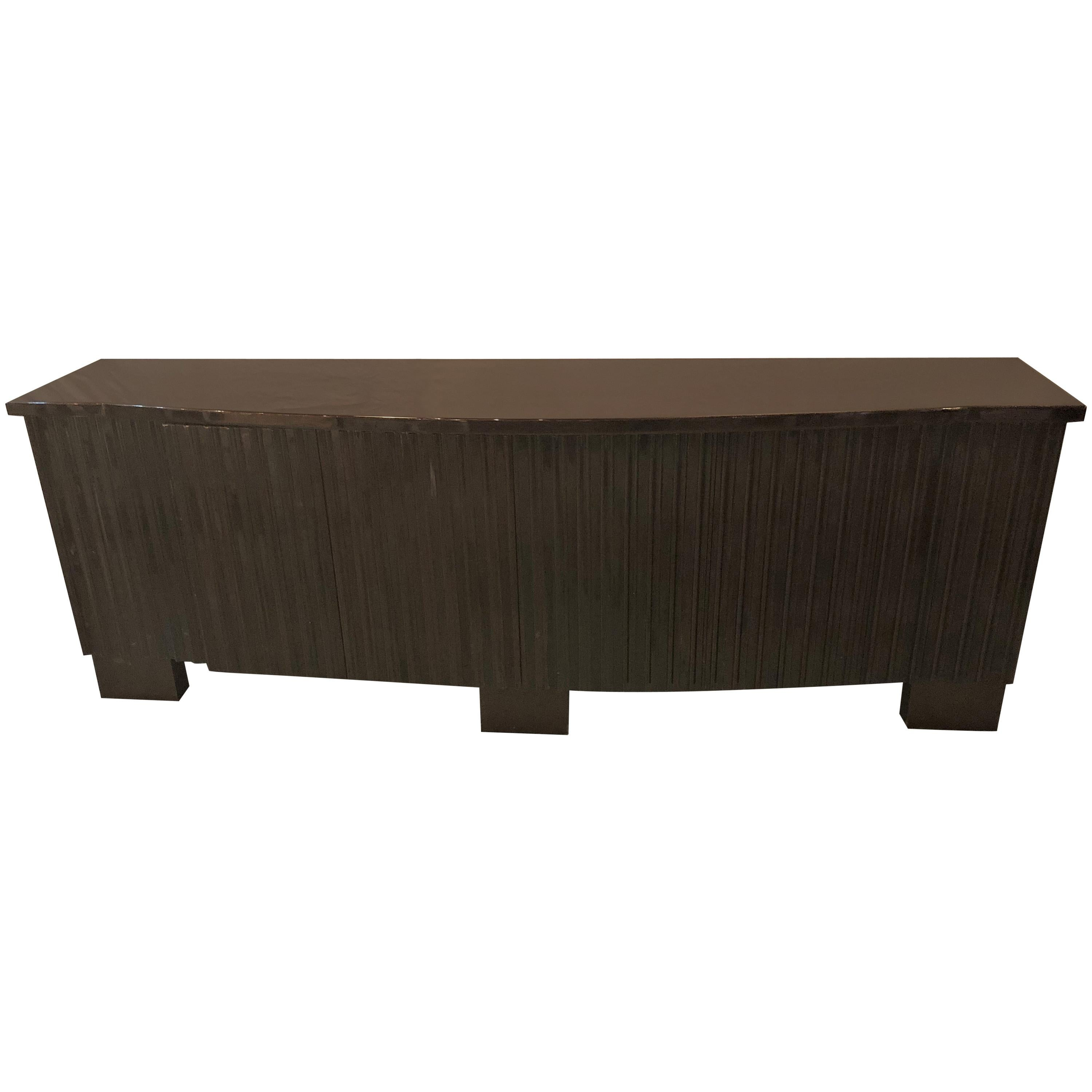 Palatial Pace Collection Wavy Front Mahogany Lacquered Credenza or Sideboard