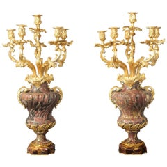 Palatial Pair of 19th Century Gilt Bronze-Mounted Six-Light Marble Candelabra