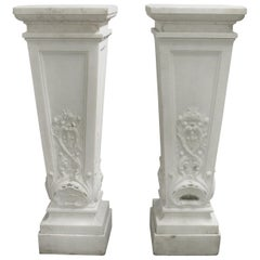 Palatial Pair of Early 20th Century Carved White Marble Pedestals