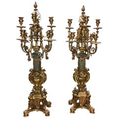 Palatial Pair of French Bronze Candelabra