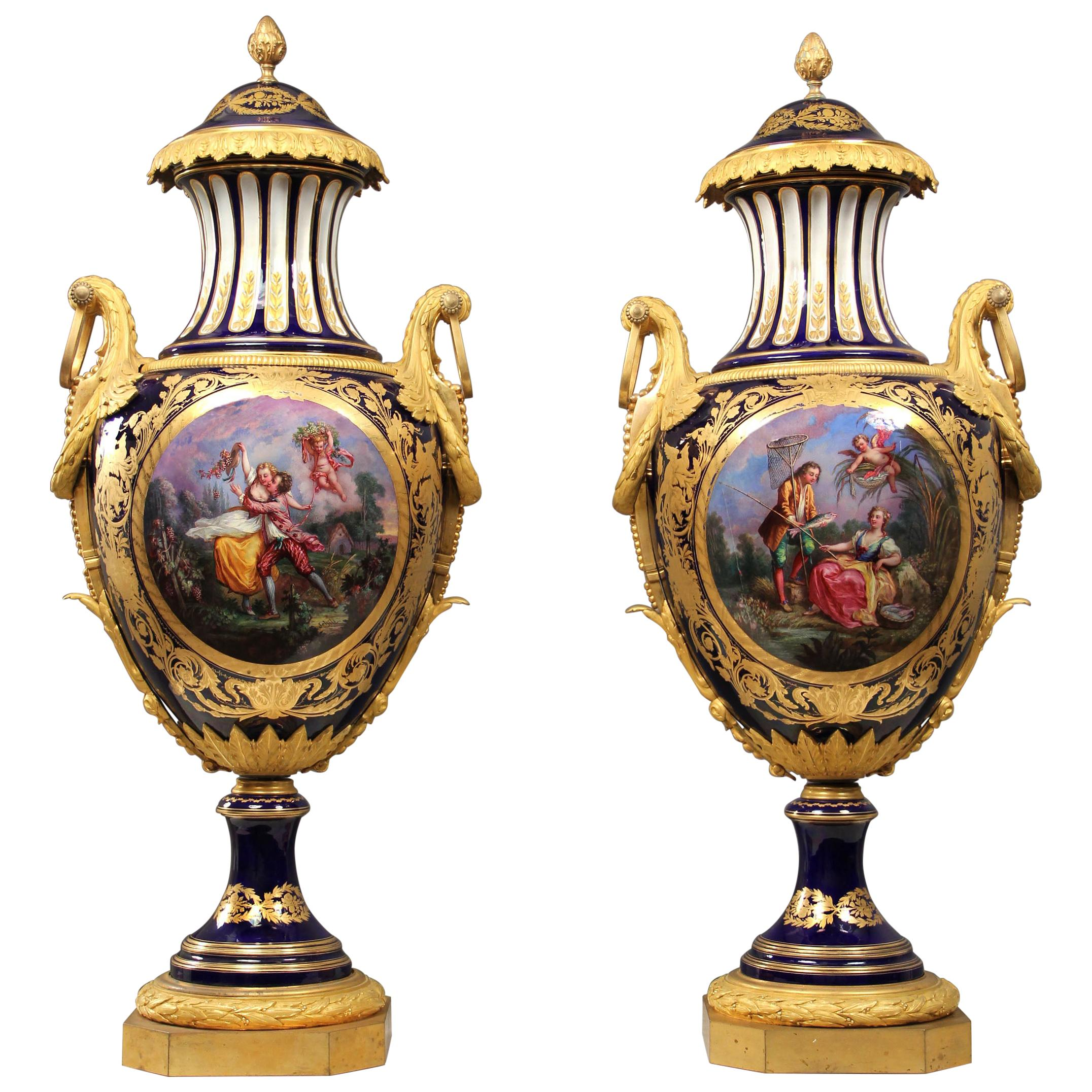 Palatial Pair of Late 19th Century Bronze Mounted Sèvres Style Porcelain Vases