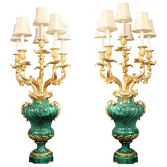 Palatial Pair of Late 19th Century Gilt Bronze Mounted Malachite Candelabra