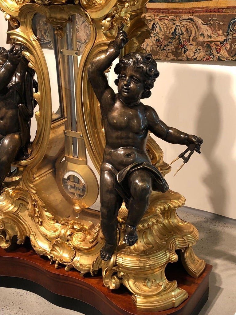 Palatial & Rare Napoleon III French Ormolu and Patinated Bronze Clock, Detouche For Sale 7