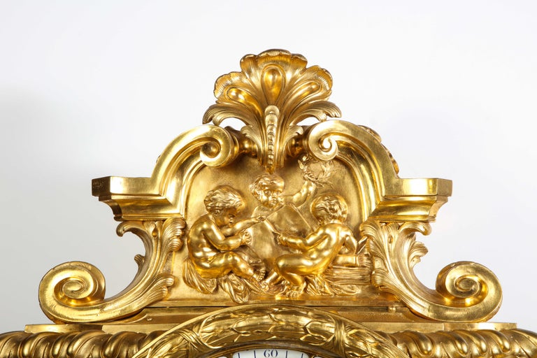 Palatial & Rare Napoleon III French Ormolu and Patinated Bronze Clock, Detouche For Sale 8