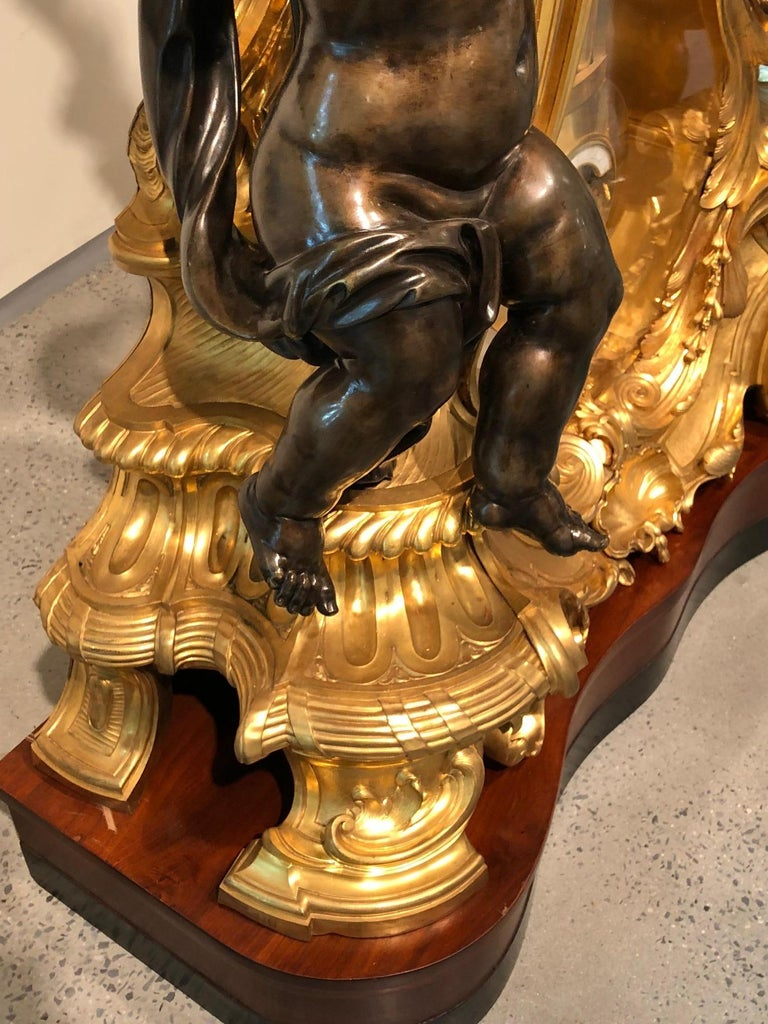 Palatial & Rare Napoleon III French Ormolu and Patinated Bronze Clock, Detouche For Sale 9