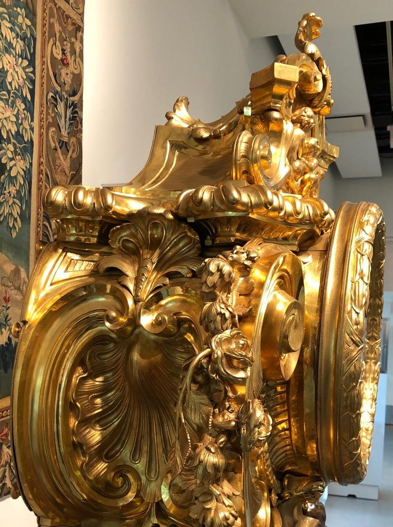 Palatial & Rare Napoleon III French Ormolu and Patinated Bronze Clock, Detouche For Sale 11