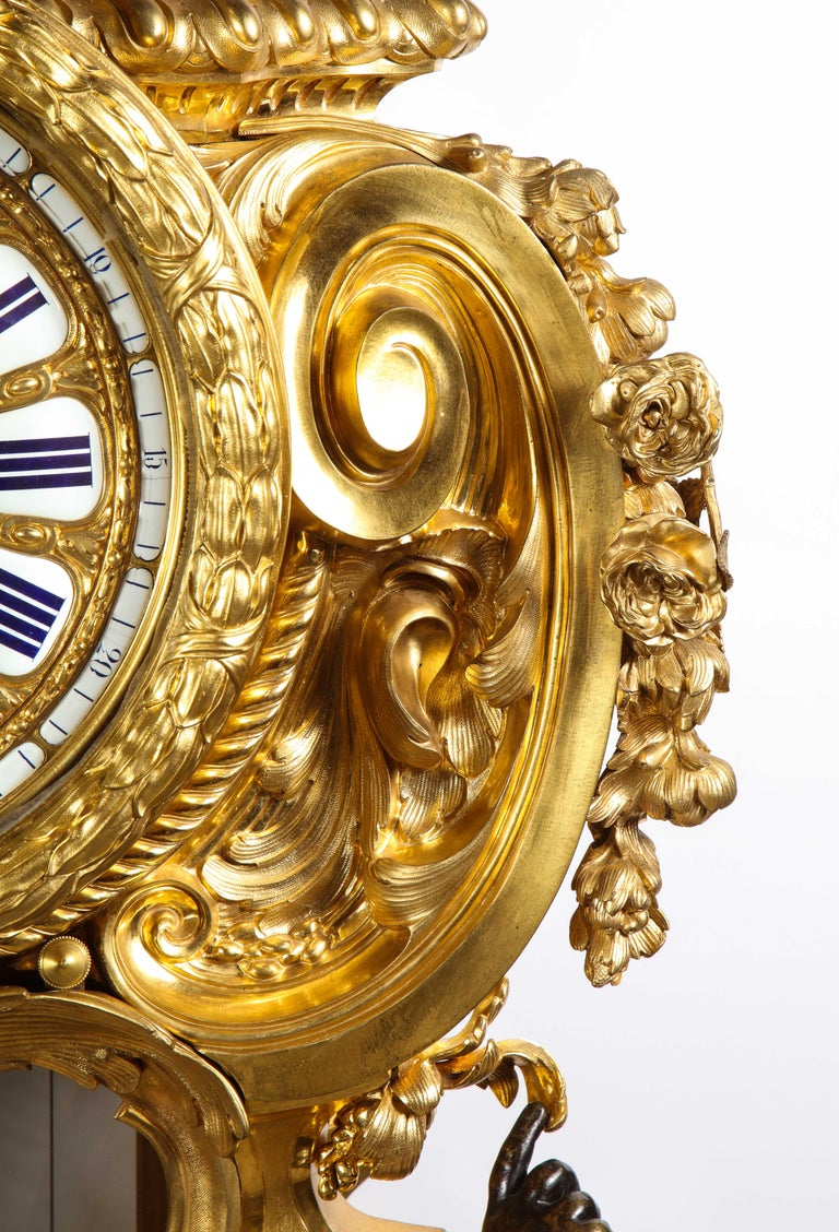 Palatial & Rare Napoleon III French Ormolu and Patinated Bronze Clock, Detouche For Sale 13
