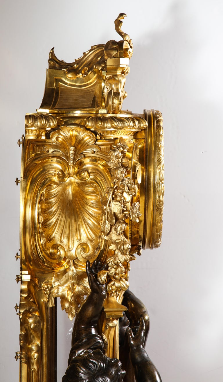 Palatial & Rare Napoleon III French Ormolu and Patinated Bronze Clock, Detouche For Sale 15