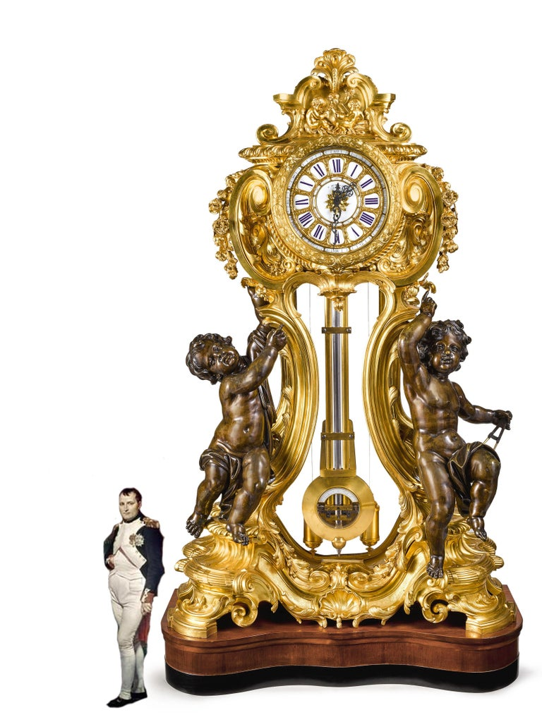 A palatial, extremely rare, and important Napoleon III French ormolu and patinated bronze regulateur de parquet clock, by Louis-Constantin Detouche, Paris, circa 1850.