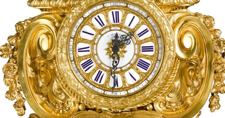 Palatial & Rare Napoleon III French Ormolu and Patinated Bronze Clock, Detouche In Good Condition For Sale In New York, NY