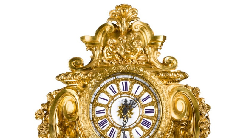 19th Century Palatial & Rare Napoleon III French Ormolu and Patinated Bronze Clock, Detouche For Sale