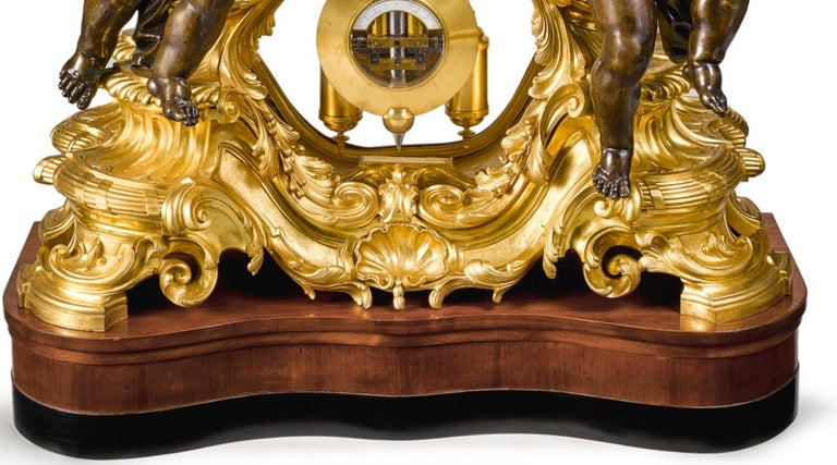 Palatial & Rare Napoleon III French Ormolu and Patinated Bronze Clock, Detouche For Sale 1