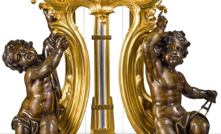 Palatial & Rare Napoleon III French Ormolu and Patinated Bronze Clock, Detouche For Sale 2