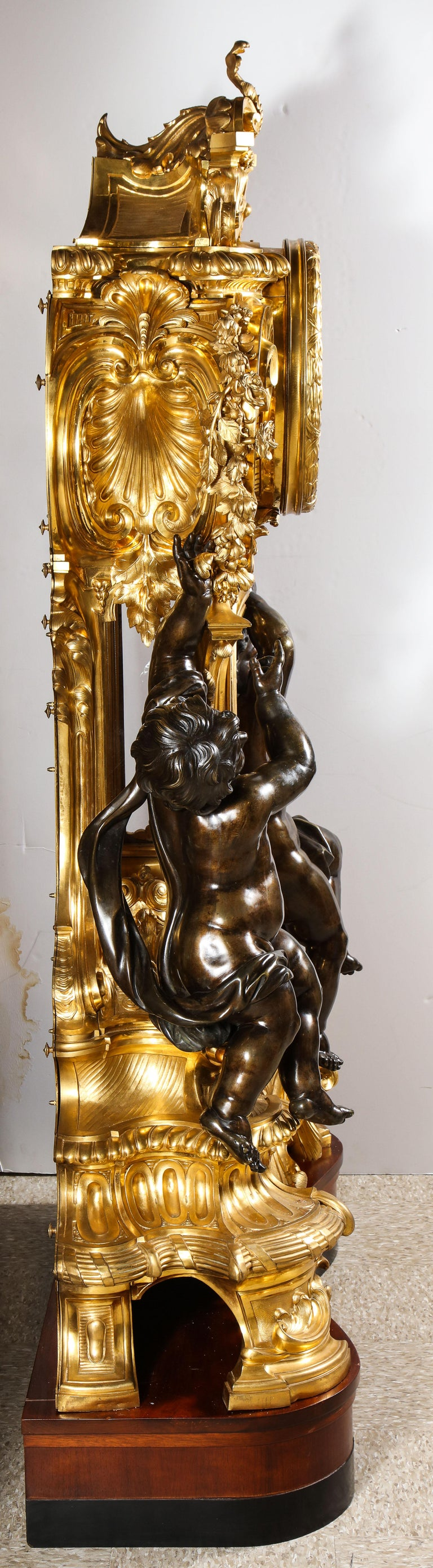Palatial & Rare Napoleon III French Ormolu and Patinated Bronze Clock, Detouche For Sale 5