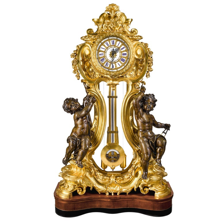 Palatial & Rare Napoleon III French Ormolu and Patinated Bronze Clock, Detouche For Sale