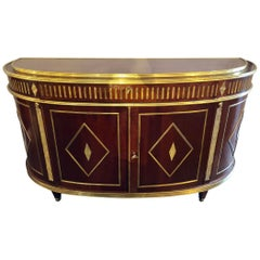 Palatial Russian Neoclassical Style Demilune Console Cabinet