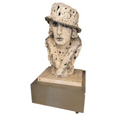 Palatial Sculpture Bust Showing Makeup Wearing Scarf and Hat by Ursula Meyer