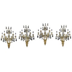 Palatial Set of Four Late 19th Century Gilt Bronze and Baccarat Crystal Sconces