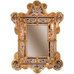 Palatial Venetian Etched Glass Cushion Mirror, circa 1930
