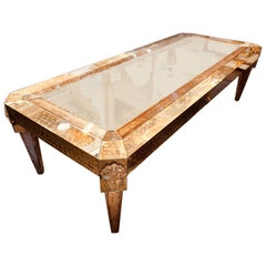 Palatial Versace Style Mirrored and Etched Low or Coffee Table