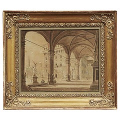 """Palazzo della Signoria"", Florence. Signed P. Gynther, 1822"
