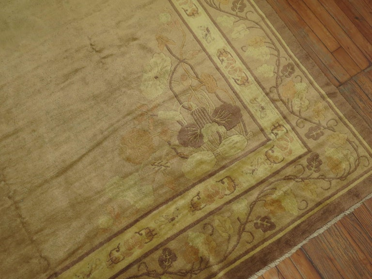 Romantic Pale Antique Chinese Rug For Sale