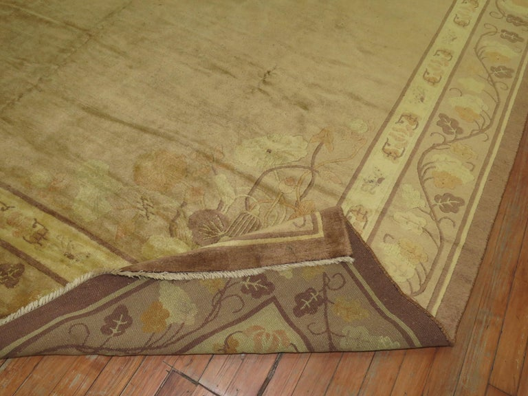 Hand-Woven Pale Antique Chinese Rug For Sale