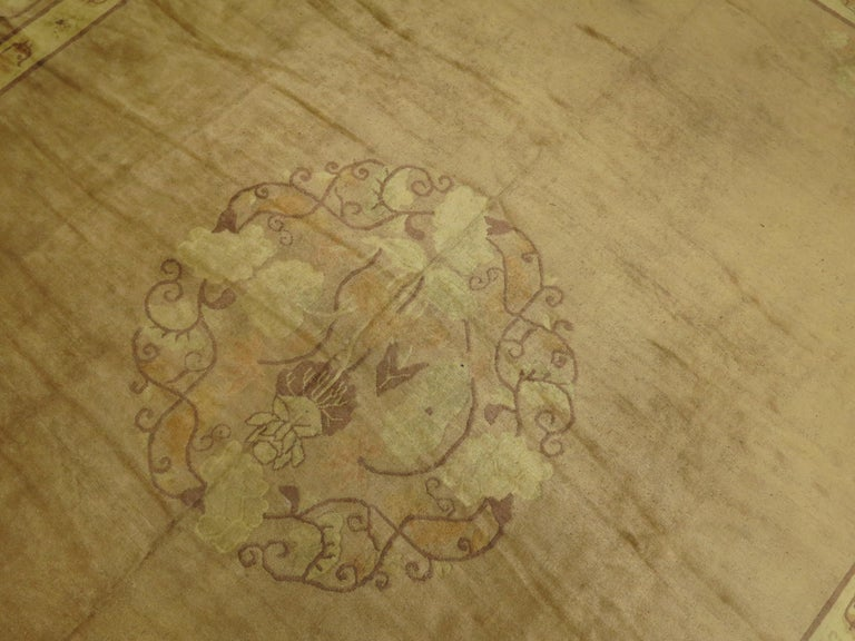Pale Antique Chinese Rug In Good Condition For Sale In New York, NY