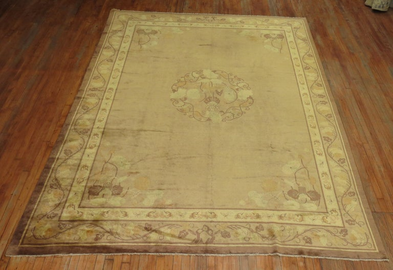 Pale Antique Chinese Rug For Sale 2