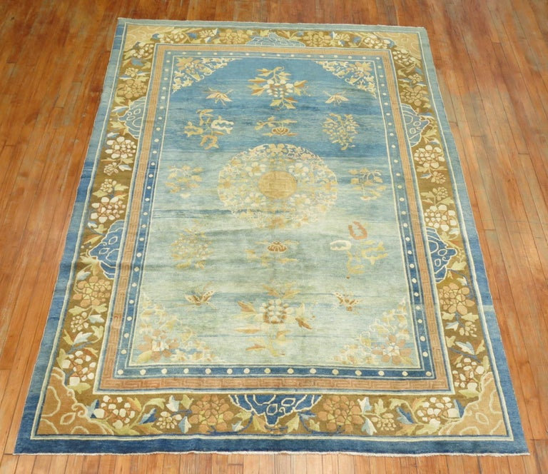 Hand-Woven Pale Blue Antique Chinese Rug For Sale