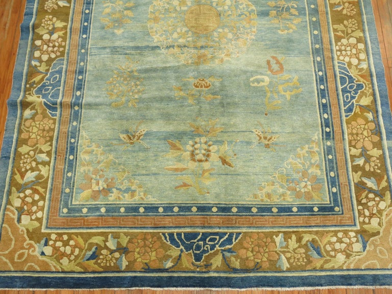 Pale Blue Antique Chinese Rug In Good Condition For Sale In New York, NY