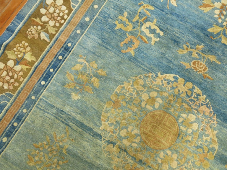20th Century Pale Blue Antique Chinese Rug For Sale